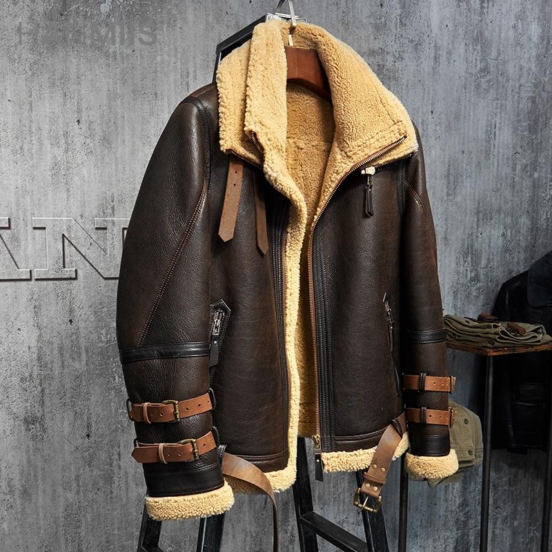cd2f920e8 Men's Shearling Jacket B3 Flight Jacket Imported Wool From Australia Short  Leather Jacket Mans Sheepskin Aviator Fur Coat