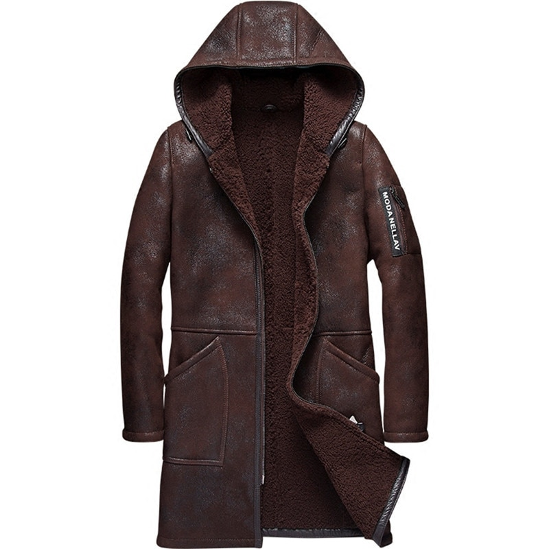 a237fec32850 Hooded Mens Shearling Coat Mens Fur Coat Long Style Business Casual ...