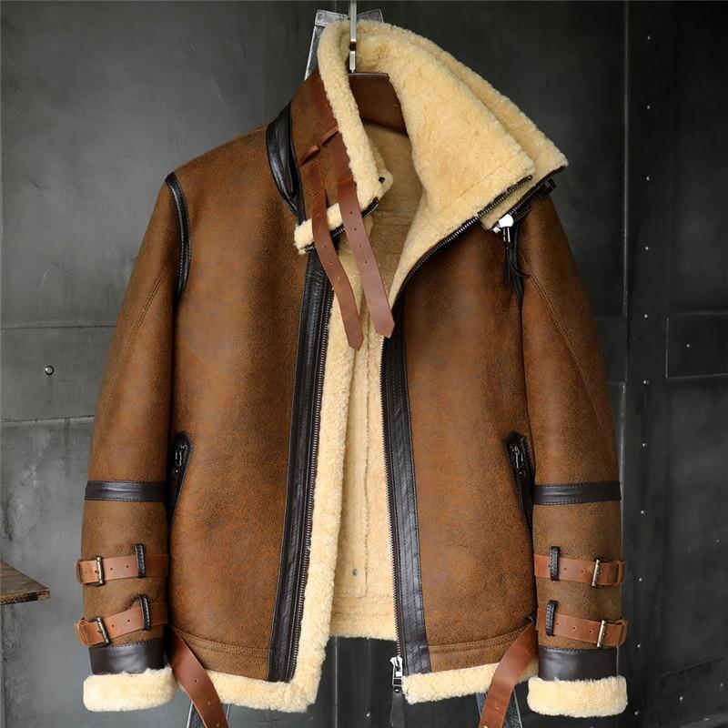 B3 Men's Shearling Jacket Flight Jacket Imported Wool From Australia Short  Leather Jacket Mans Sheepskin Aviator Fur Coat