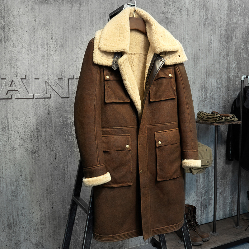 999ccc2aa4b3d X-Long Military Style Men's Shearling Coat Men's Fur Parka. Imports Wool  From Australia Sheepskin Jacket