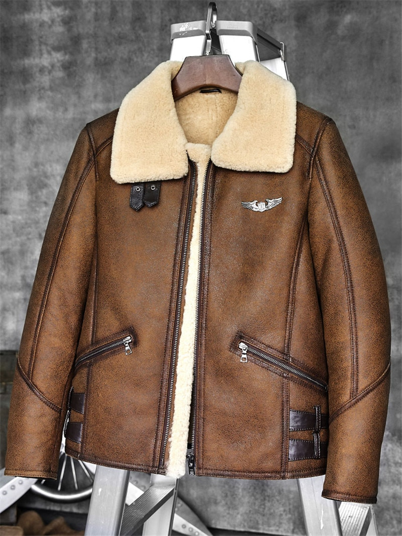 fc57ce18aa0e0 Mens B-3/B6 Sheepskin Shearling Bomber Jacket - King of Cocaine