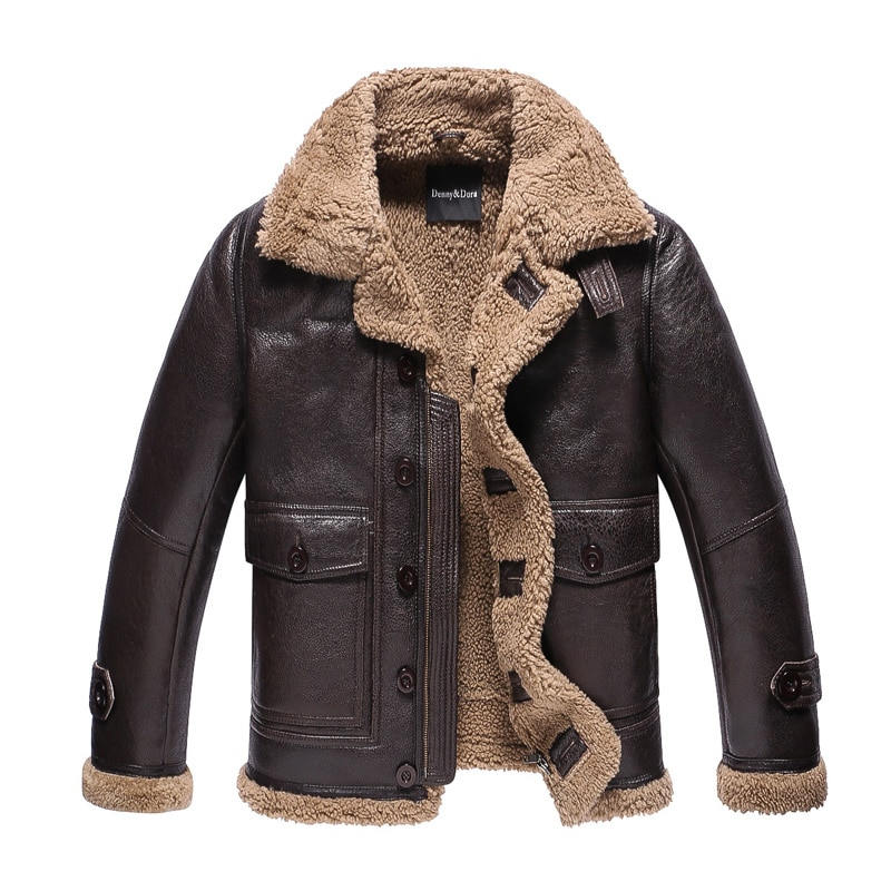 698dc8b3e11 Leather Jacket Men Shearling B3 Fur Coat Menfolk Lambskin Motorcycle Fur  Outerwear Short Coat Flight Jacket