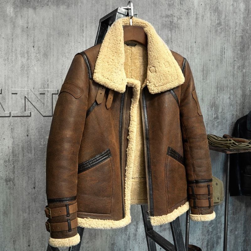 4ac7d8282f4 Fur Coat Men's Shearling Jacket B3 Flight Jacket Short Fur Leather ...