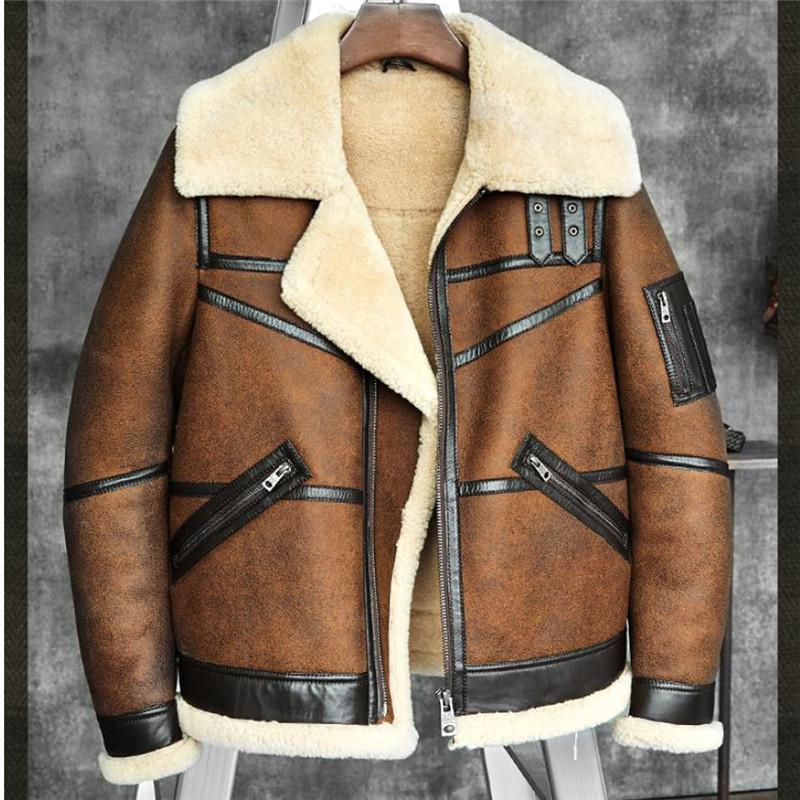 24e0583a40d Men s B3 Shearling Sheepskin Bomber Jacket Pilots Coat Men s Fur ...