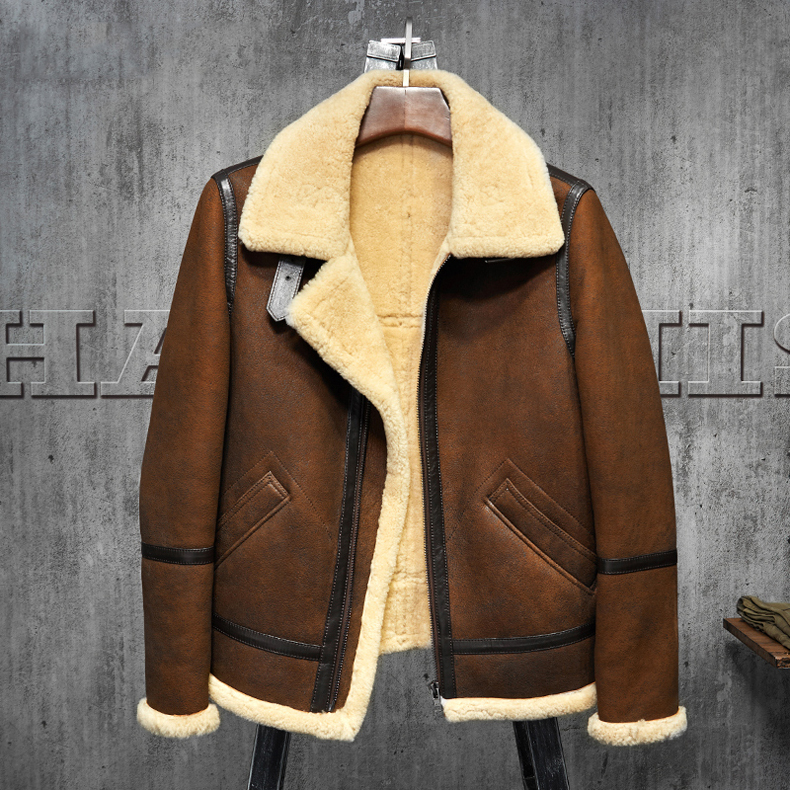 70bda5cb4bbf8 Men's Shearling Leather Jacket Dark Brown B3 Jacket Original Flying ...