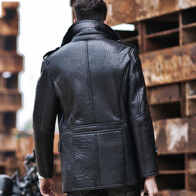 e15867d6eee3 Mens Aviator B3 Sheepskin Shearling Jacket Motorcycle Jacket Travel Casual  Coat winter leather jacket Long Style Black