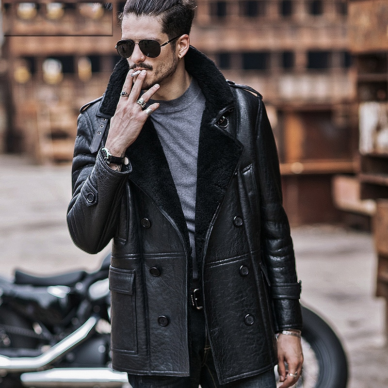 Mens Aviator B3 Sheepskin Shearling Jacket Motorcycle Jacket Travel Casual  Coat winter leather jacket Long Style Black a5c3029f6