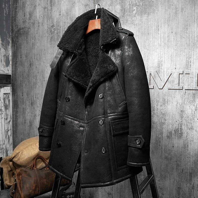 e01f0d357c24 Black lapel Men's Shearling Leather Jacket Long Style Men's Fur Coat  Aviation Leathercraft Parka