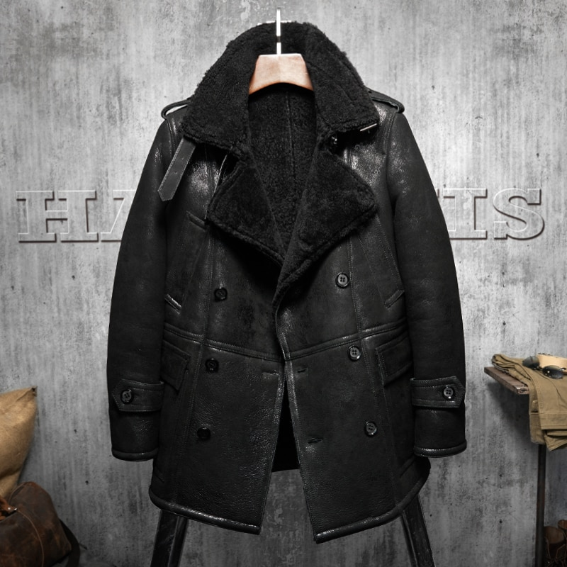 b4fcb00b6467 Black lapel Men's Shearling Leather Jacket Long Style Men's Fur Coat ...