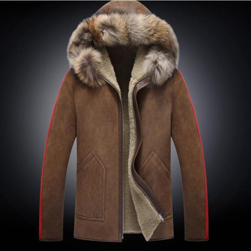 Mens Sheepskin Coat >> Raccoon Fur Collar Hooded Mens Shearling B3 Sheepskin Coat Short Coat With Fur Jacket Handsome Motorcycle Jacket