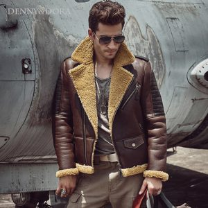 32fbc4dea31 shearling b3 sheepskin coat Short Coat Lapel Collar With Fur Jacket  Handsome motorcycle jacket