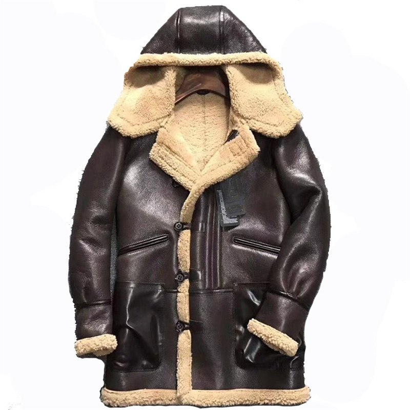 d97078f8b6f Mens Genuine Shearling Coats Hooded Personality Leather Jacket ...