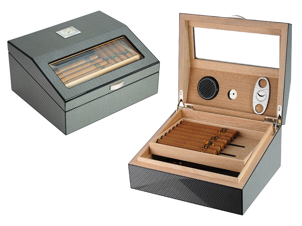 50 Count Cigars Cabinet Mahogany Humidifier Humidor Storage Cases Box Outdoor