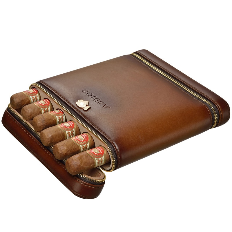 Travel Cigar Case Box Holder Mini Humidor Storage Boxs PU Leather and Cedar  Wood Holds 6 Cigars Humidifier Cigar Accessories