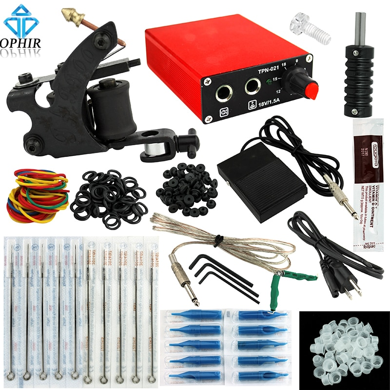 Tattoo Kit with Tattoo Power Supply Nozzle Needle for Beginners