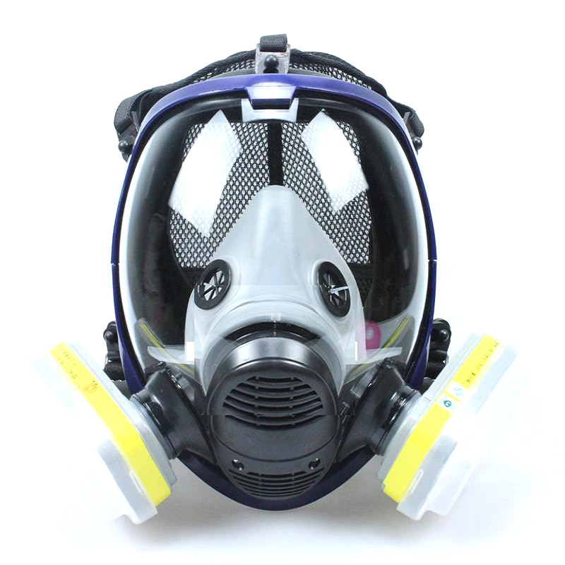 Full Face Gas Mask 7 Piece Set Dust Mask Air Circulator Anti-fog Chemicals Respirators for painting/Pesticide/Laboratory