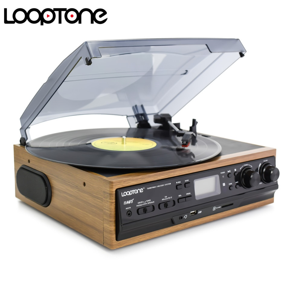 LoopTone USB Turntable Vinyl Record Player 2 Built-in Speakers Turntables W/ AM/FM Radio Cassette LP Recording