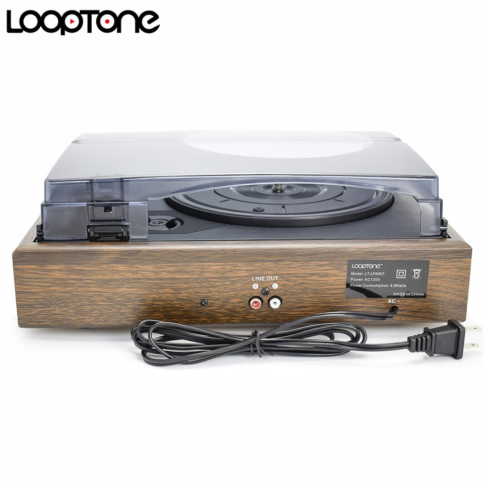 LoopTone 3-Speed Classic Belt-Driven Turntable Vinyl LP Record Player W/ 2  Built-in Speakers RCA Line-out AC110~130V&220~240V