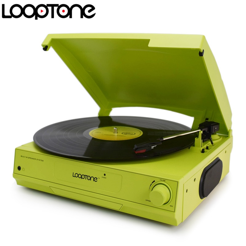 LoopTone 33/45/78 RPM Vinyl LP Record Player Turntable Players Built-in Speaker Headphone Jack&RCA Line-out AC110~130&220~240V