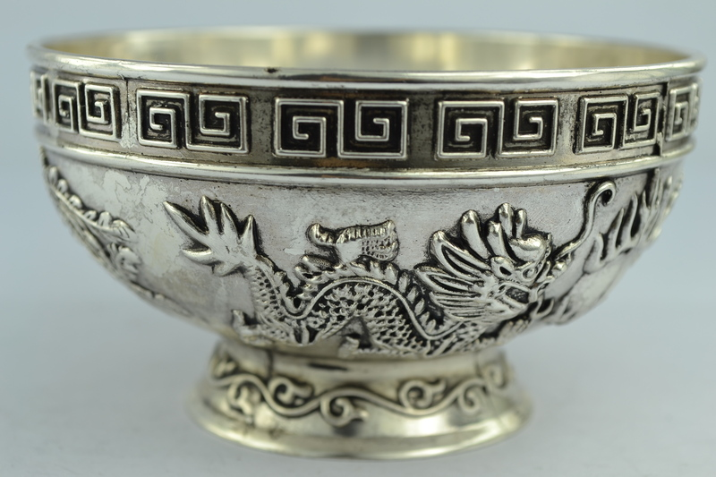 Chinese Rare C Old Handwork Tibet – Silver bowl metal handcrafted