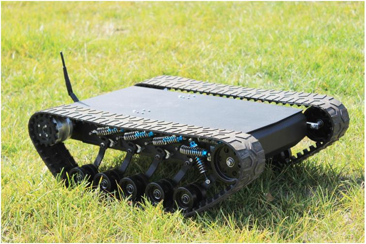 Big Load RC Shock Absorber Robot Crawler Tank Model Car Chassis with 12V 300rpm Motor High Stainless Steel Plate Metal Tracks