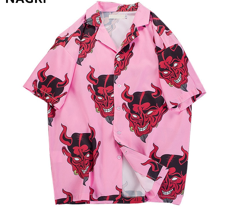 Devil Printing short sleeve floral shirts – S-3XL
