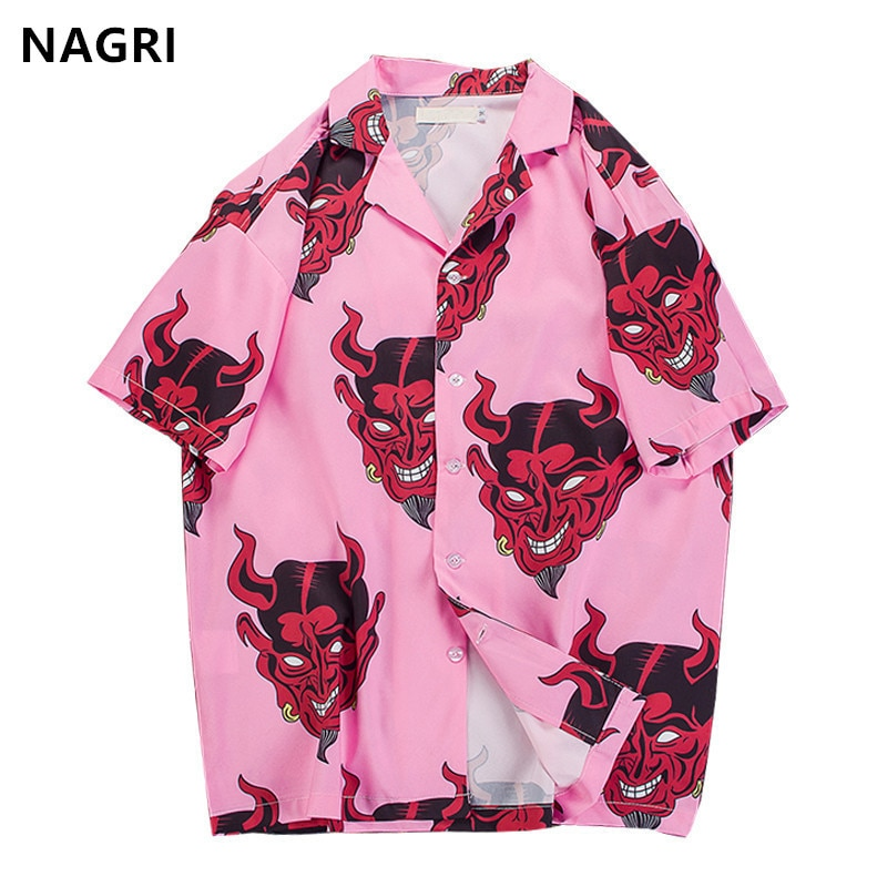 Devil Printing short sleeve floral shirts – S-3XL