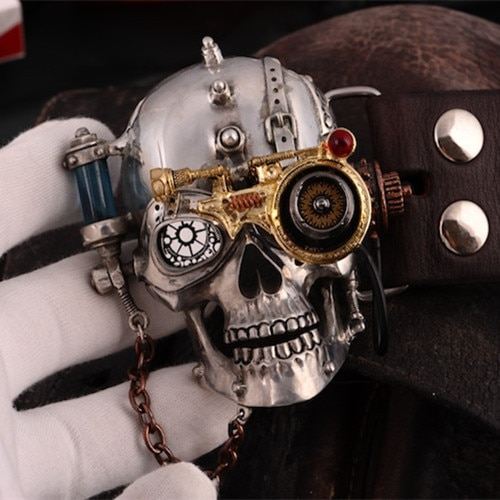OGRM Steam Punk Style Belt Tin Alloy Belt Buckle Gothic Skull Style Buckle