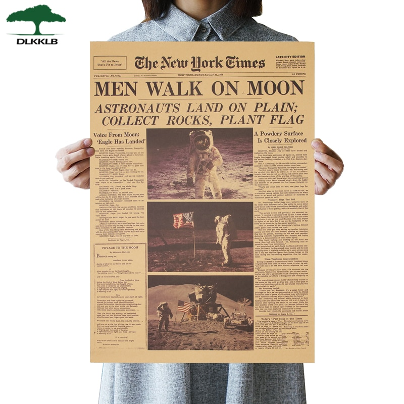The Apollo 11 Moon Landing New York Times Vintage Poster Kraft Paper Retro 51X35.5cm