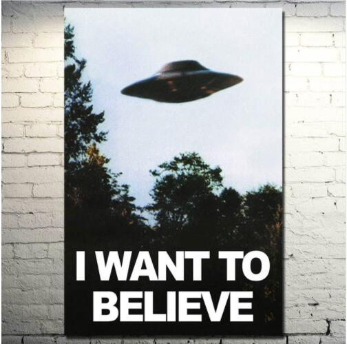 I WANT TO BELIEVE – The X Files Art Silk UFO Canvas 40X50cm No Frame