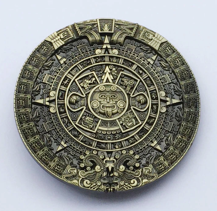 Aztec calendar men's Metal belt Buckle fit 4cm