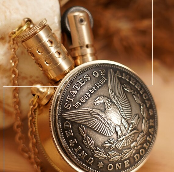 130g Brass kerosene copper coin retro Queen avatar eagle lighter