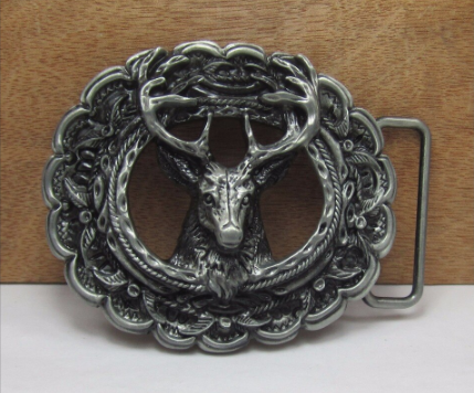 Deer belt buckle with pewter finish – 4cm