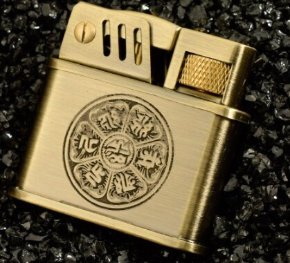 Brass retro-style wheel kerosene lighter