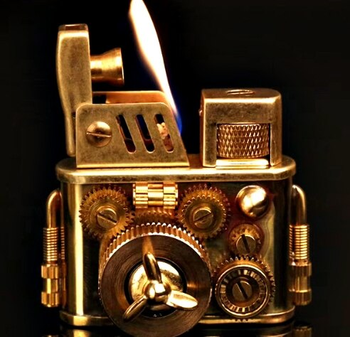 brass old style retro handmade welding 5 gear turn run steampunk kerosene lighter
