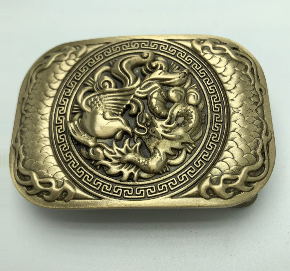 3D Phoenix Dragon Solid Brass Men belt buckle – 4cm