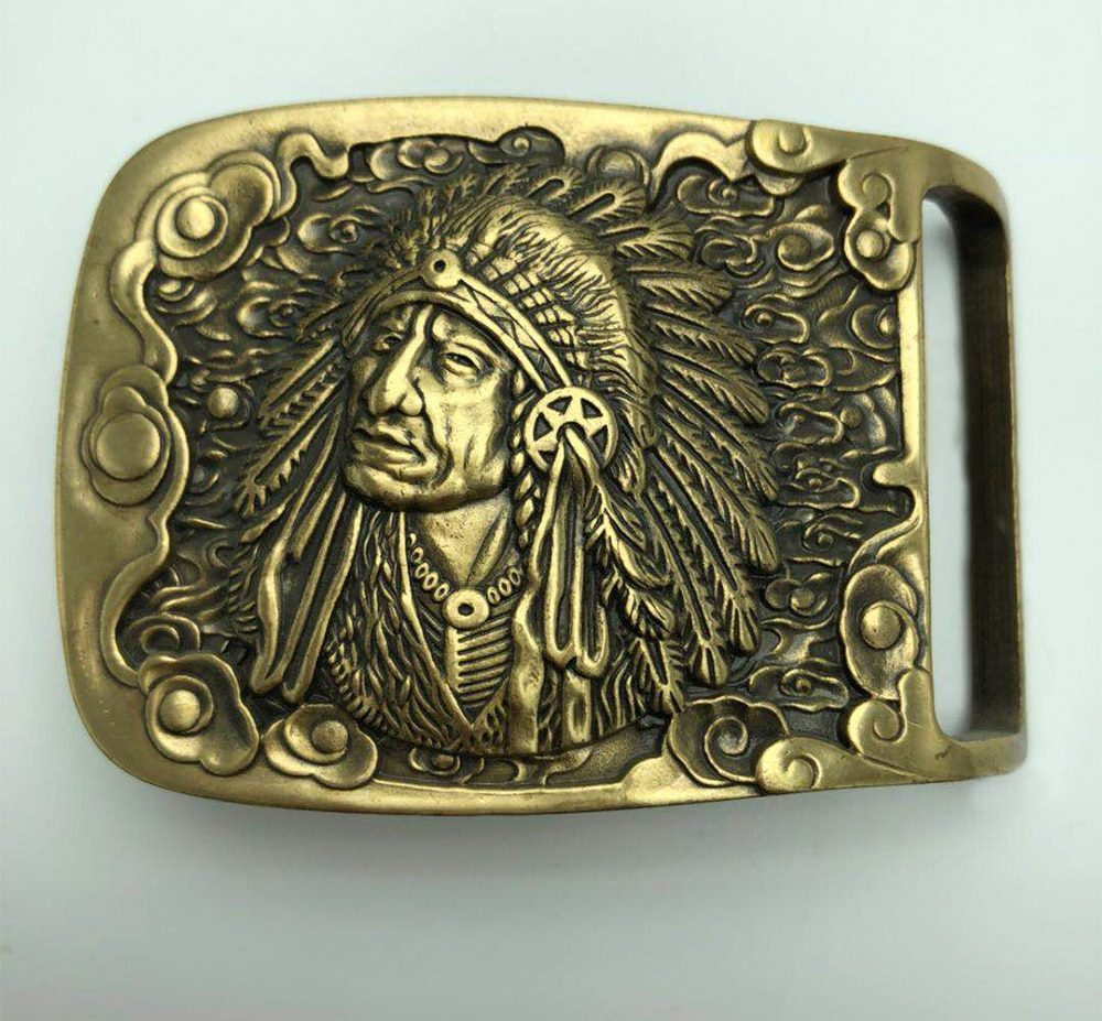 Native American Indian Warrior Chief Belt Buckle Solid Brass