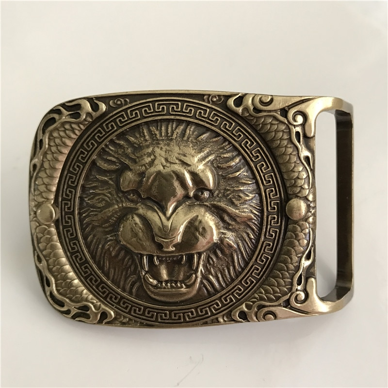 3D lion Head Solid Brass Men Belt Buckle – 4cm