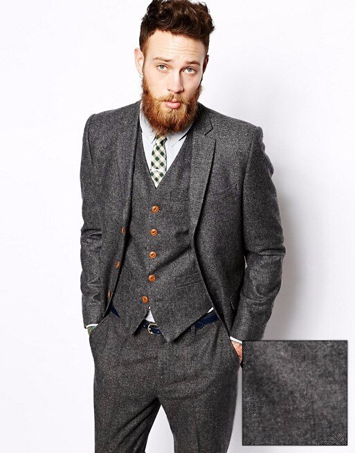 Gray Tweed 3 Piece Italian Style Mens Suit