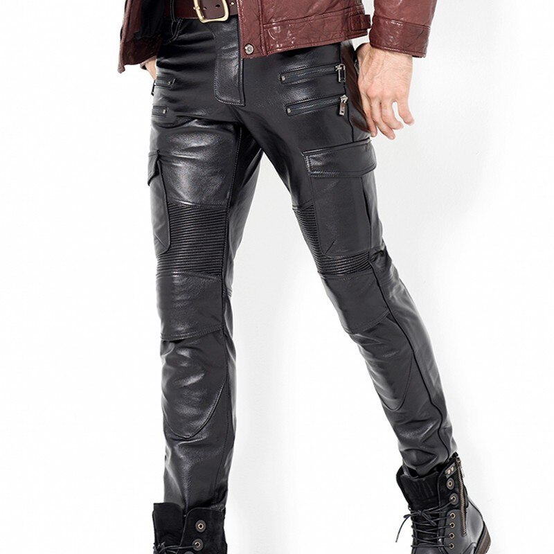 Men's Genuine Leather Skinny Pants