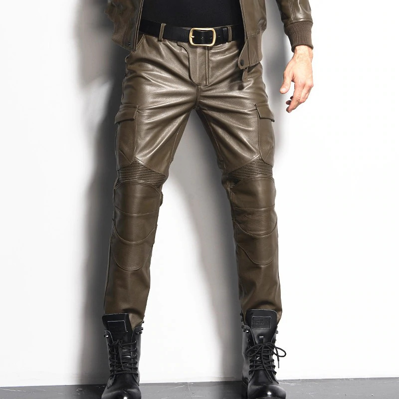 Men's Leather Pant Leather Skinny Biker Pants Motorcycle Punk Rock Pants Slick Smooth Shiny Leather