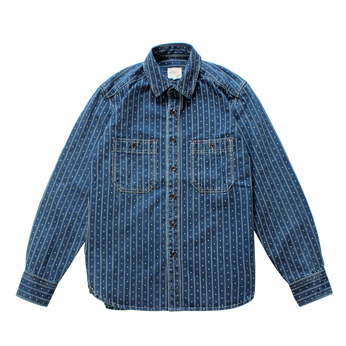 Square Striped Denim Vintage Long Sleeve Shirt