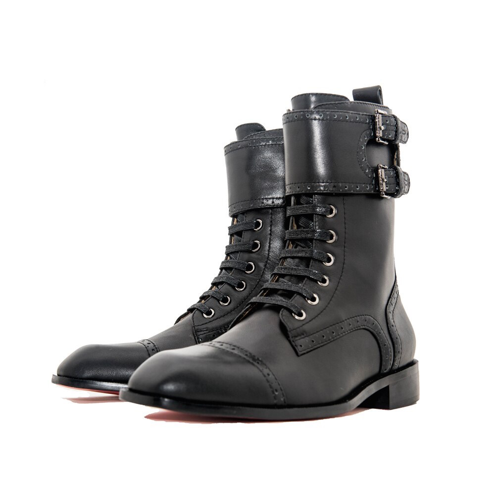 Duble Buckle Italian Leather Men Boots