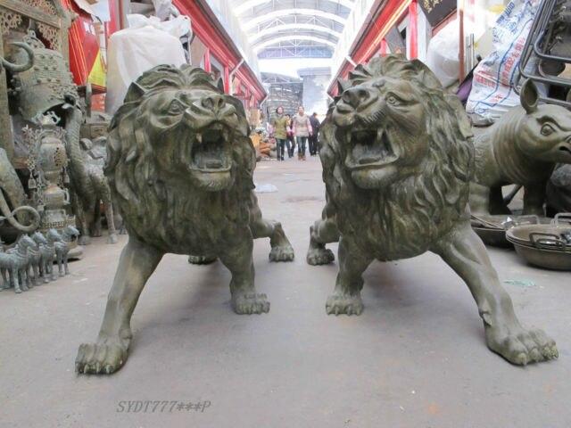 61″ Pure Bronze sculptures Lion King PAIR Garden Decoration 100% Real Brass Bronze